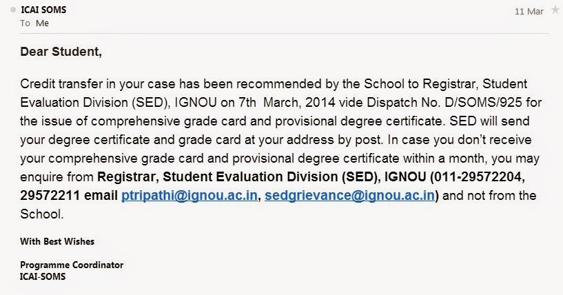 Nripesh rajbhandari for students doing b af figii confirmation email from ignou altavistaventures Image collections