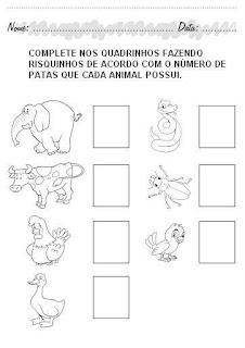 Atividades Educação Infantil para Imprimir - Risque o número de patas de cada animal