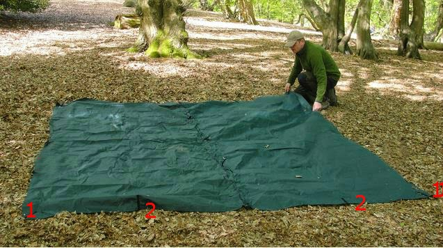 Lay it out on the ground and orientate it (the door will be at the front of the picture above). The numbers 1 and 2 at the front relate to a later ... & The Outdoor Traditionalist : How to make a 3m x 3m tarp tent