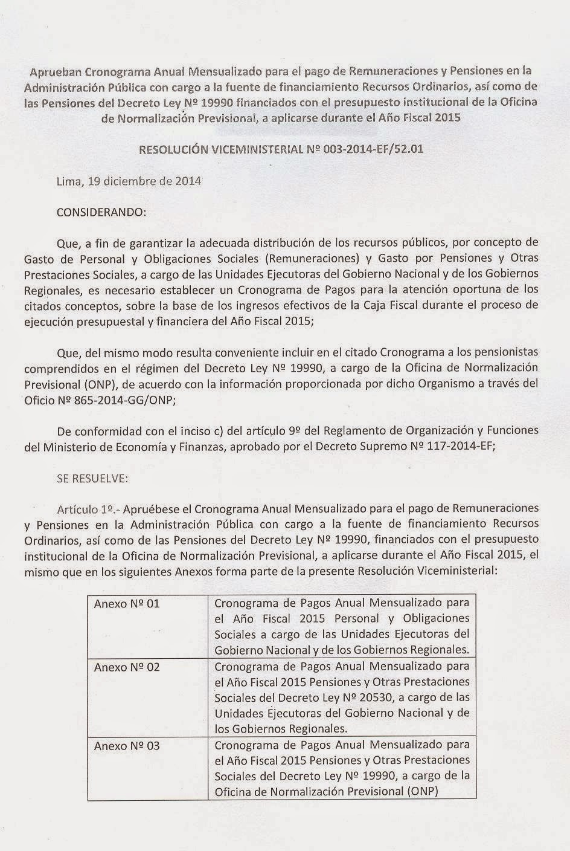 Fentase aprueban cronograma anual mensualizado para el for Cronograma de pagos ministerio del interior