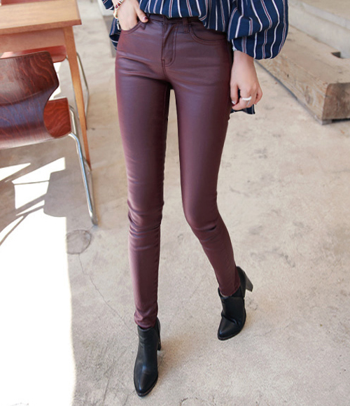Coated Slim Fit Pants