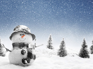 Snowman with Hat and Scarf Snowflakes HD Wallpaper