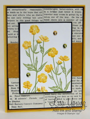 Stampin' Up! Wild About Flowers stamp set. Handmade wildflower card in shades of yellow. Lisa Young, Add Ink and Stamp
