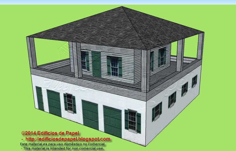 Maqueta de papel de una casa de estilo colonial