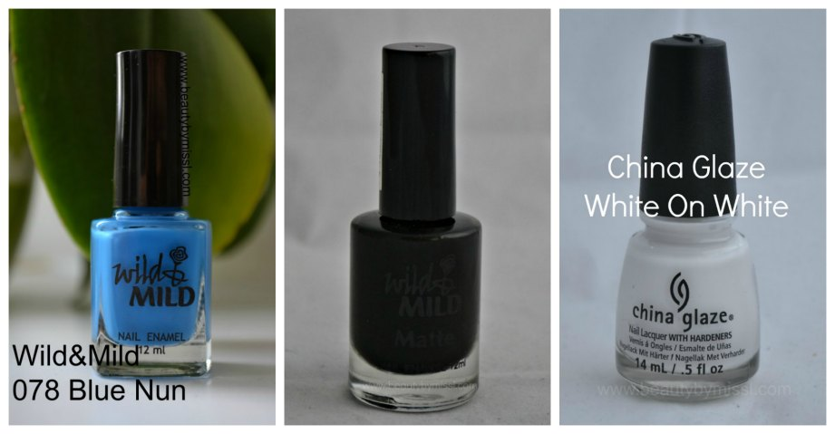 Wild & Mild Blue Nun, Wild & Mild Matte City of Darks, China Glaze White on White