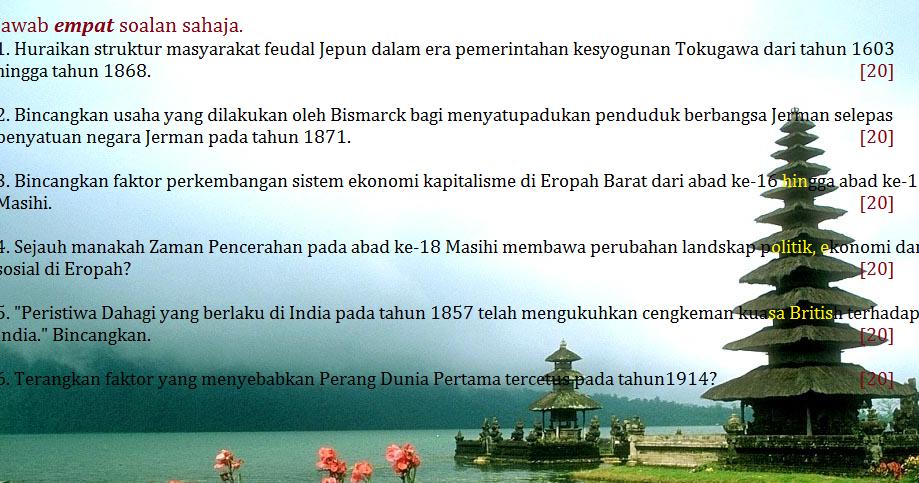 Blog Sejarah STPM Baharu: Semekar Cintaku : Soalan Sejarah K1 STPM ...
