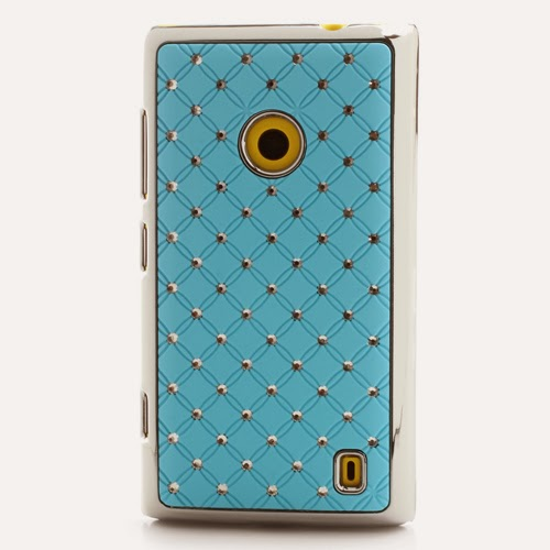 Bling Diamond Starry Sky Plated Hard Case for Nokia Lumia 520 525 - Blue