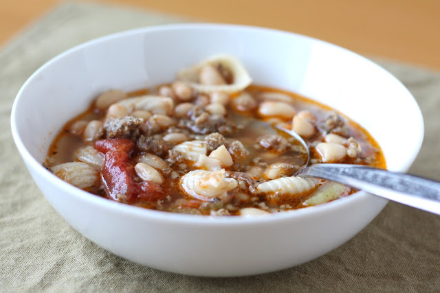 Pasta Soup with White Beans and Sausage recipe by Barefeet In The Kitchen