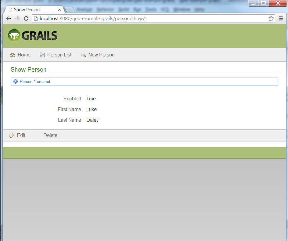 Screen capture of Geb automated testing on Chrome