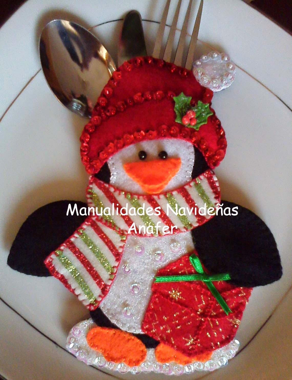 Manualidades navide as anafer portacubiertos navide os - Decorar mesa navidad manualidades ...