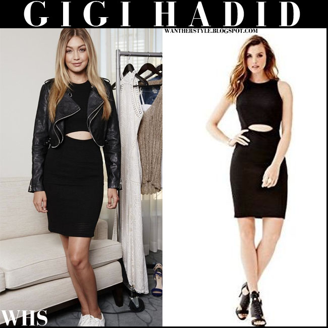 Gigi Hadid in black cutout Guess dress and white sneakers Guess Marline what she wore