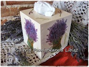 Chustecznik Ozdobny Lawenda Bukiet Drewniany w stylu retro pudełko na chusteczki