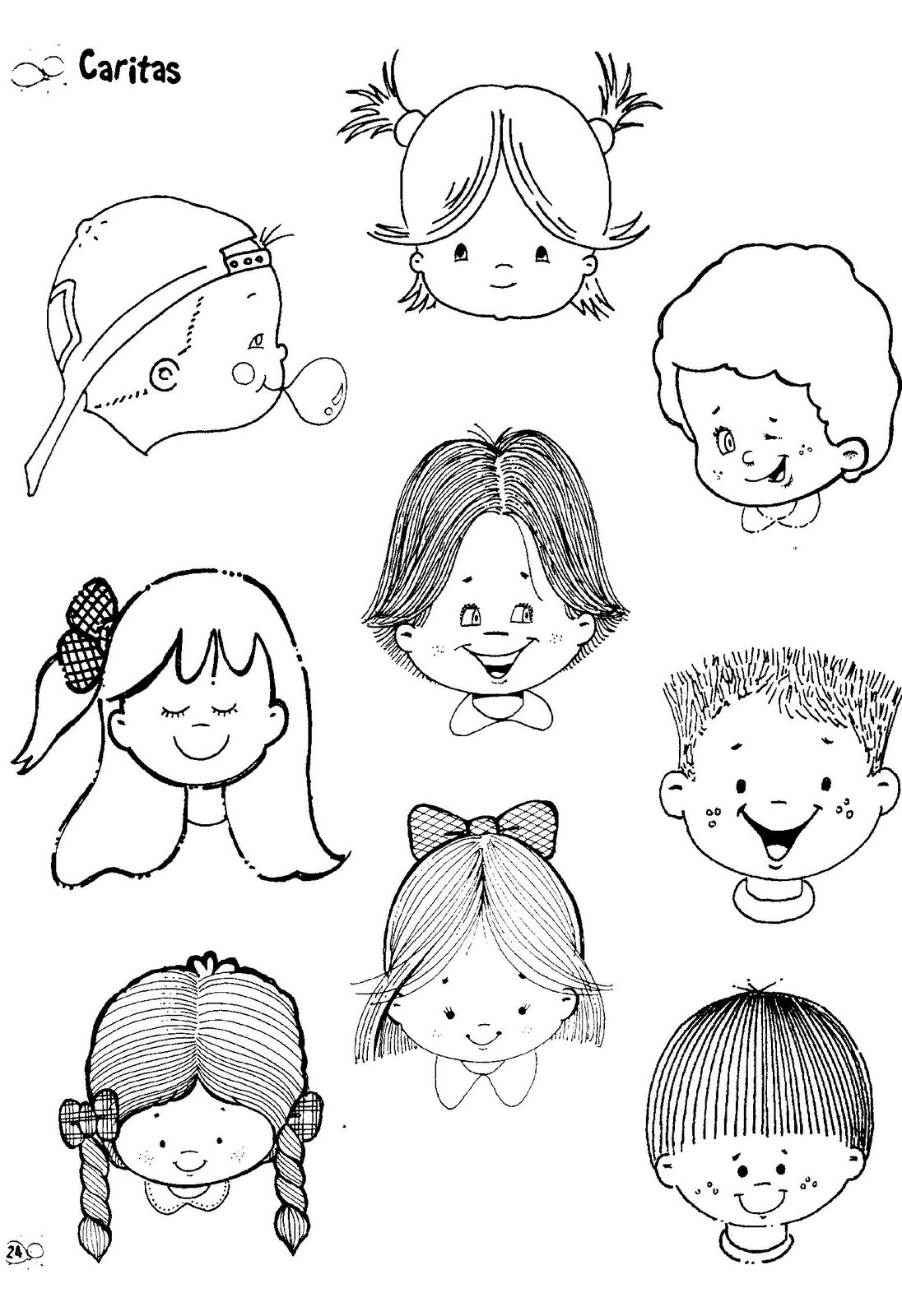 Fichas para infantil y primaria: Caras para colorea e imprimir