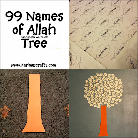 99 names of allah tree muslim ramadan crafts