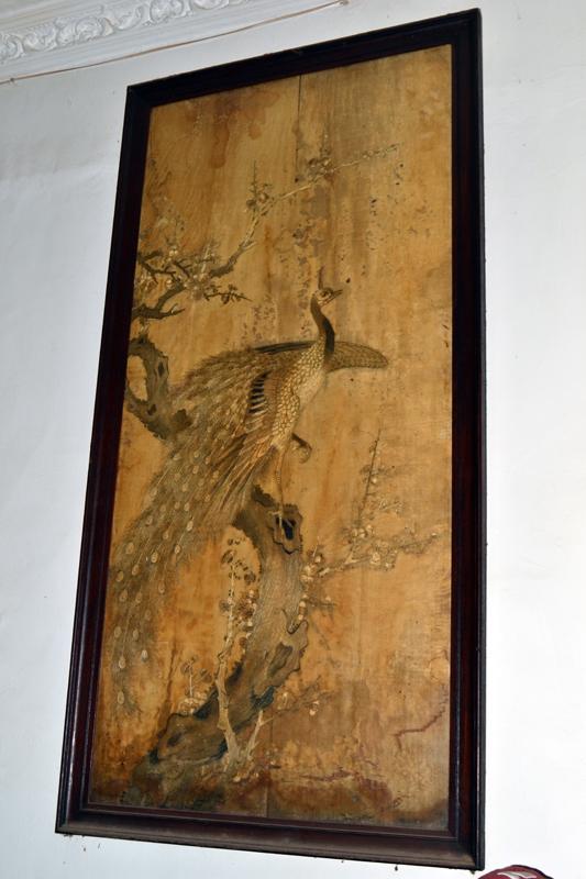 lukisan bulu, burung merak