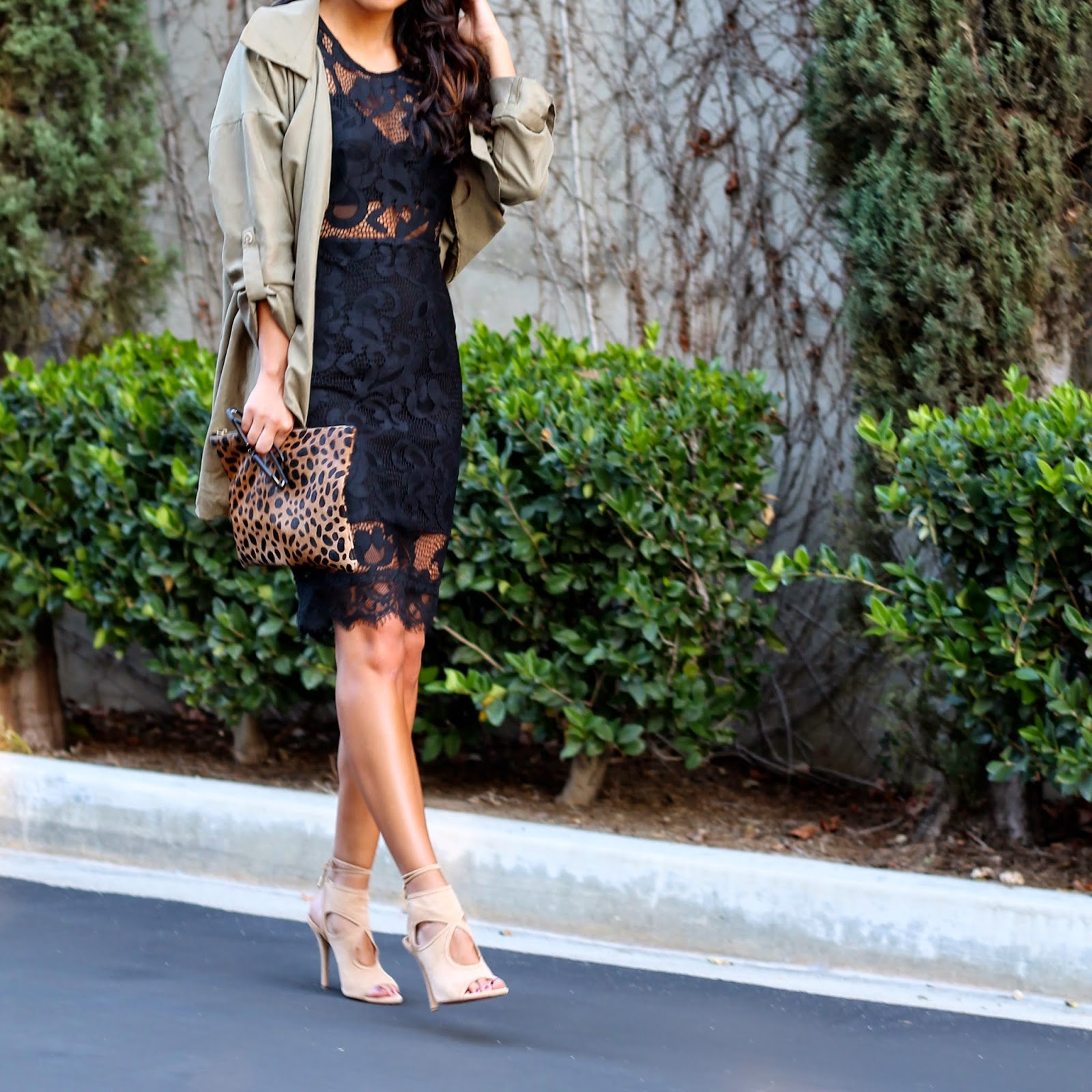 holiday part style, clare vivier clutch, aquazzura heels, lace black dress, holiday style, NBD on REVOLVE, What to wear holiday party