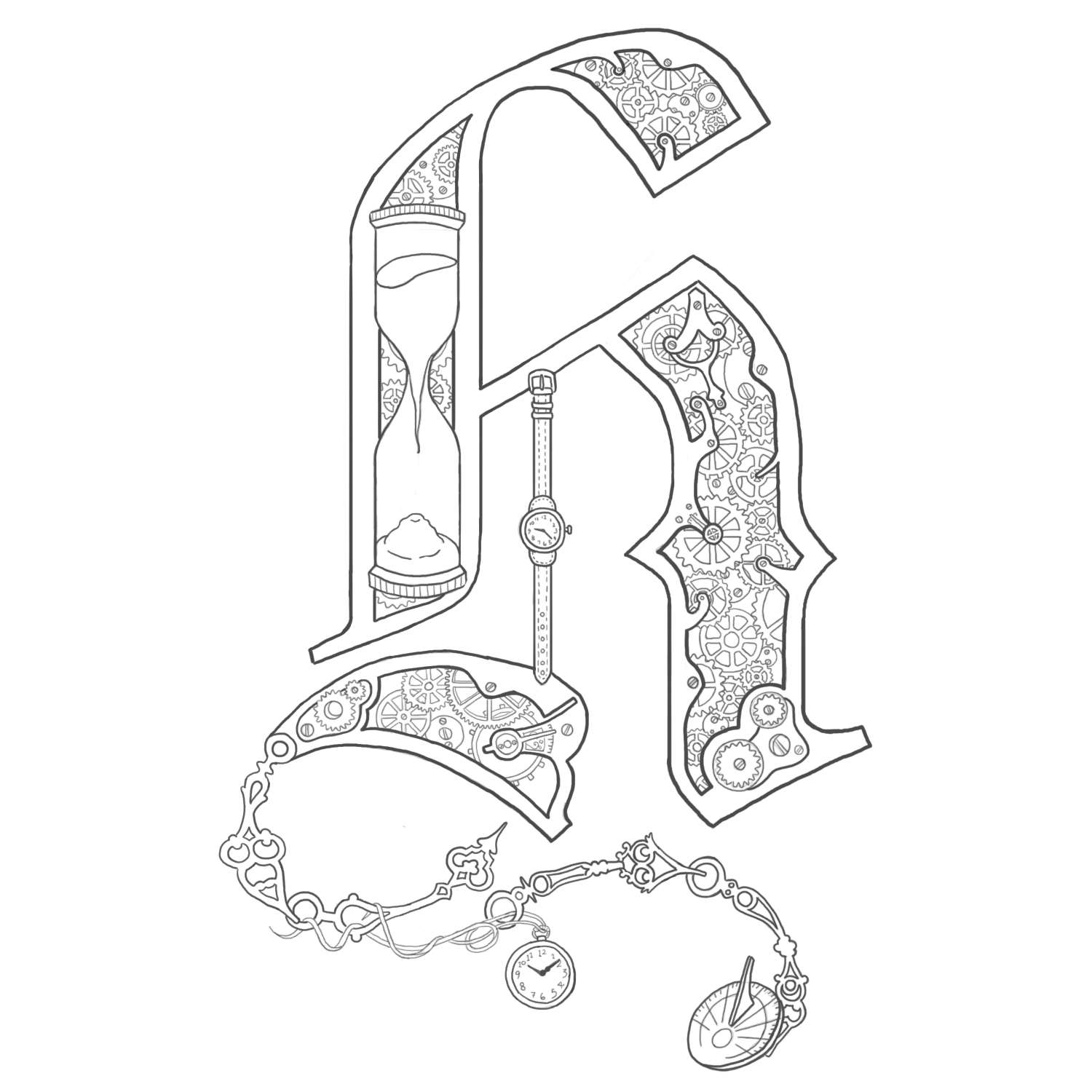 illuminated alphabet coloring pages free - photo#26