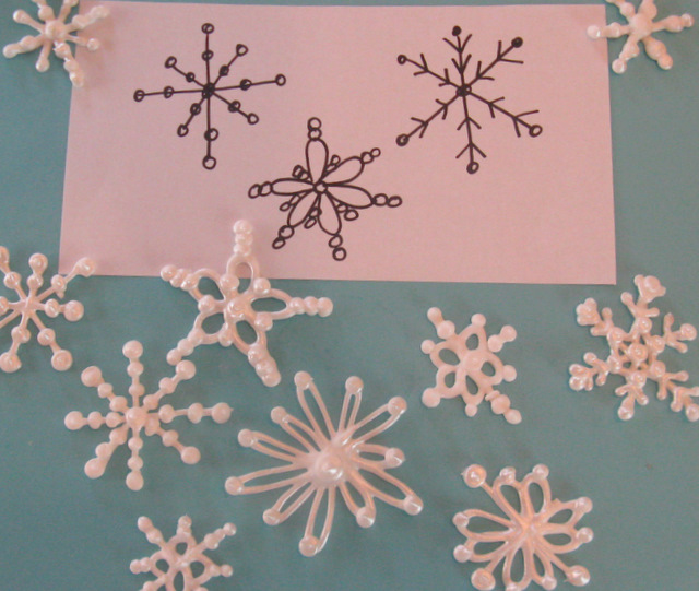 Edible Piped Icing Snowflake Ornament Craft.