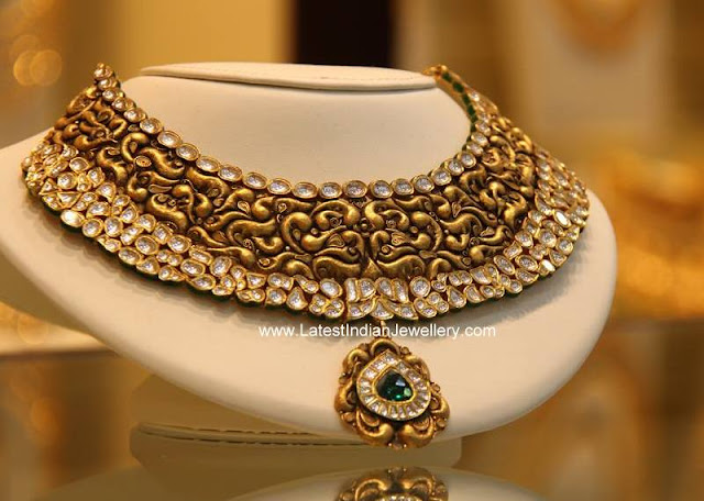 Abstract Antique Gold Kundan Necklace