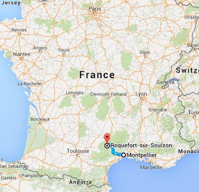 Montpellier to Roquefort map