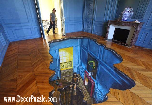 Best catalog of 3d floor art and 3d flooring murals for Bathroom floor mural sky