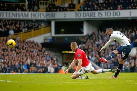 Tottenham player Sandro shoots to score his side's second goal against Manchester United