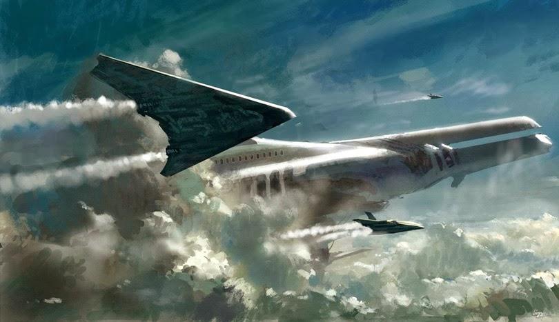 Spacecraft King Ravana taking off from ancient cosmodrome Nazka desert South America