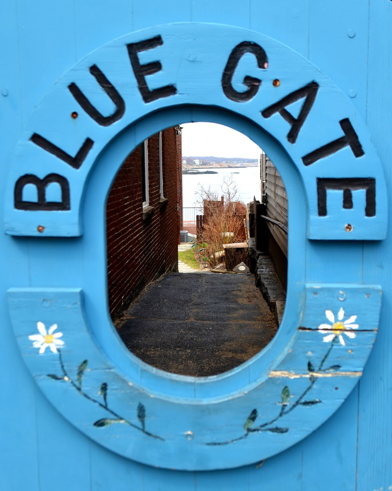 blue, gate, rockport, flowers, oceanscape, ocean