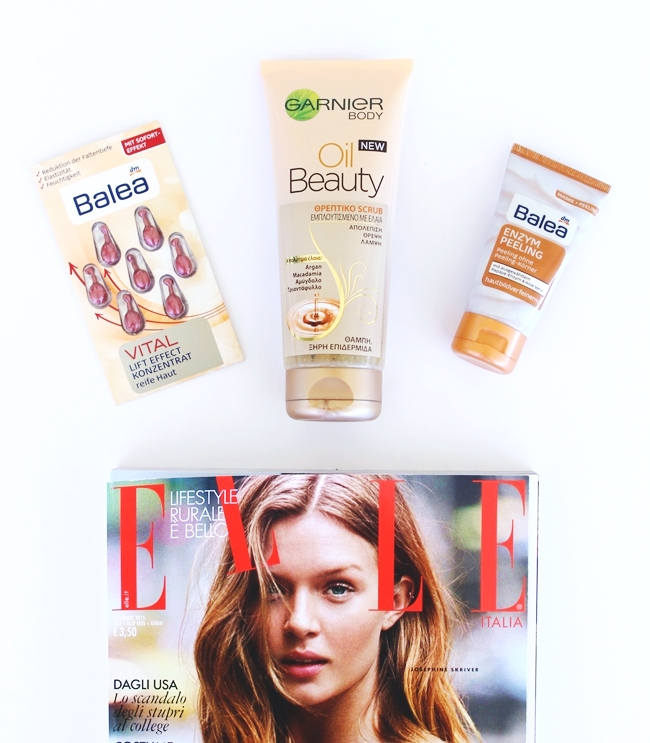 How to prepare the skin for the cold weather.Kako pripremiti kozu za hladno vreme.Balea Enzyme peeling/enzim piling.Balea Vital lift concentrate capsules/koncentrat kapsule.Garnier Oil beauty scrub/piling za telo.