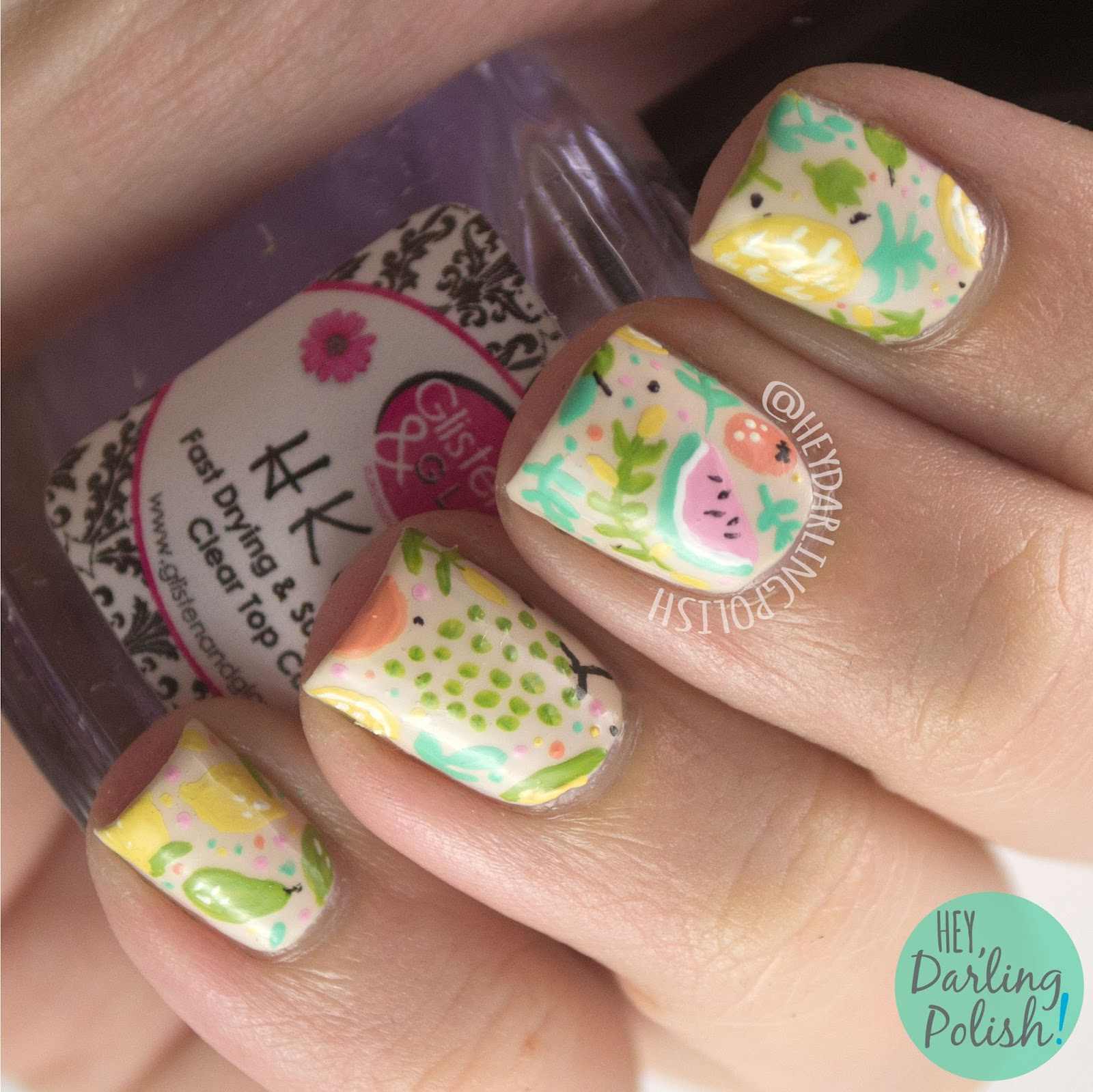 nails, nail art, nail polish, fruit, pattern, hey darling polish, theme buffet,