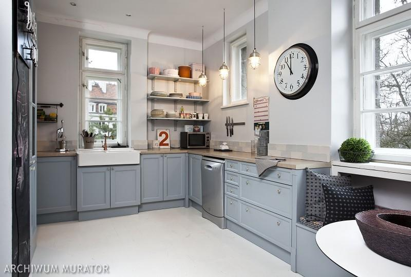 Szara kuchnia z czerwoną cegłą  Bajkowe Wnętrza -> Szara Kuchnia Jaki Kolor Ścian