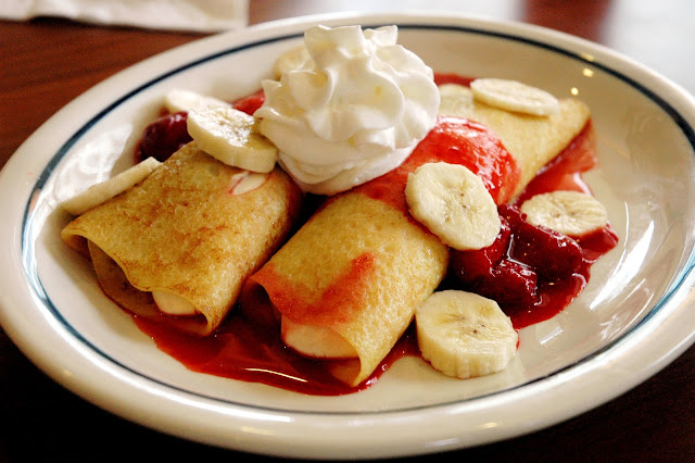 and a sweet Strawberry Banana Danish Fruit Crepes (P 265), two crepes ...