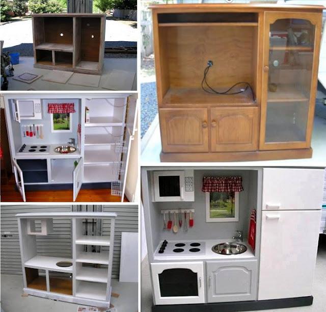 Recicladores c mo convertir un viejo mueble de tv en una for Mueble para estufa