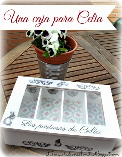 Caja con transfer y decoupage para Celia