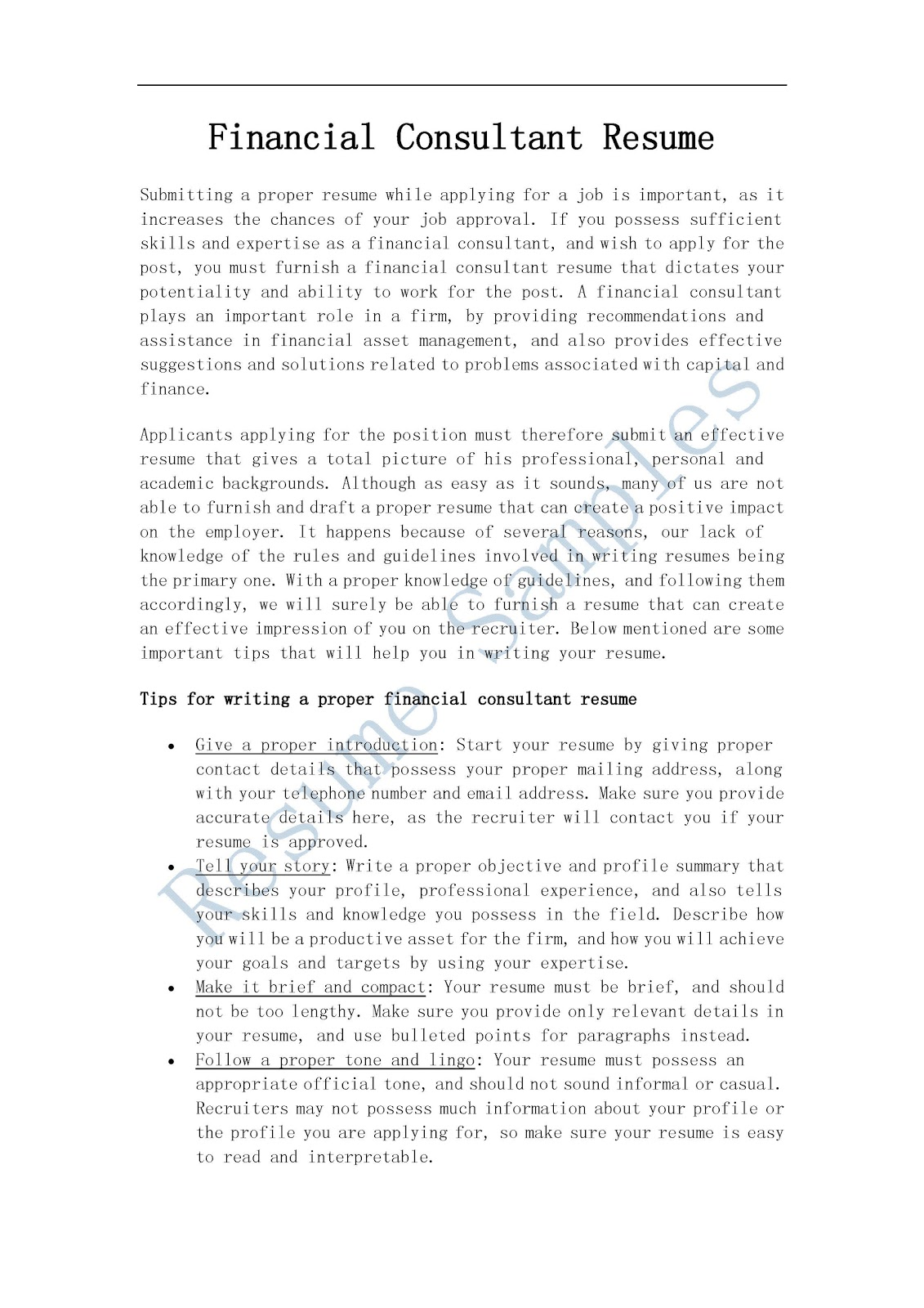 resume samples  financial consultant resume
