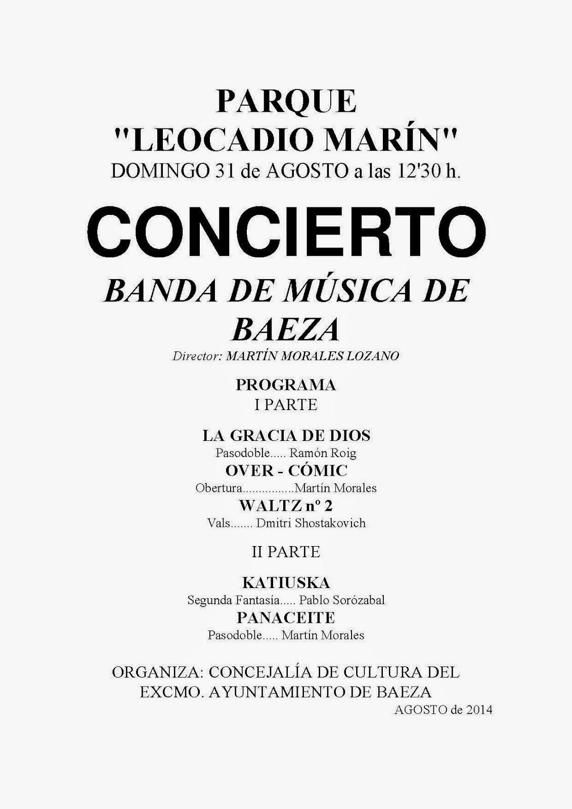 CONCIERTO DOMINGO 31 DE AGOSTO 2014 - BANDA DE MÚSICA DE BAEZA