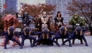 Os vilões do super sentai japonês Esquadrão Relâmpago Changeman
