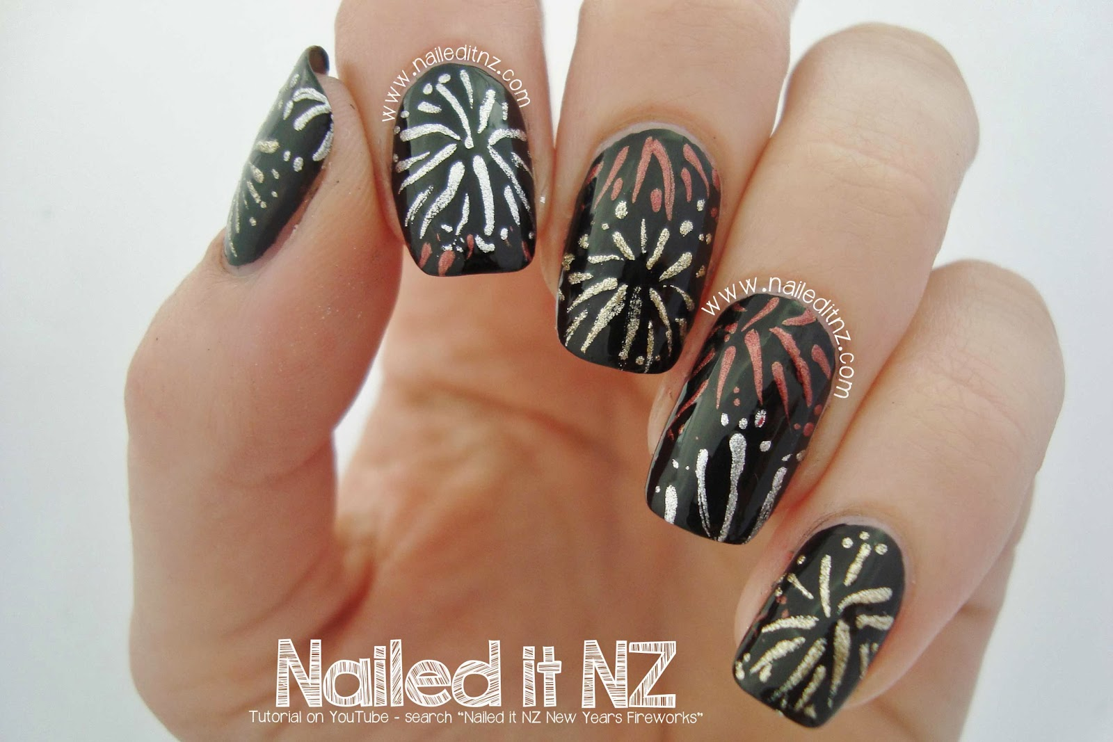 New Yearsfireworks Nail Art Tutorial 12 Days Of Christmas Nail