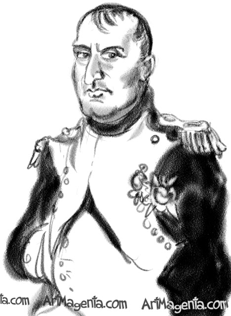Napoleon caricature cartoon. Portrait drawing by caricaturist Artmagenta.