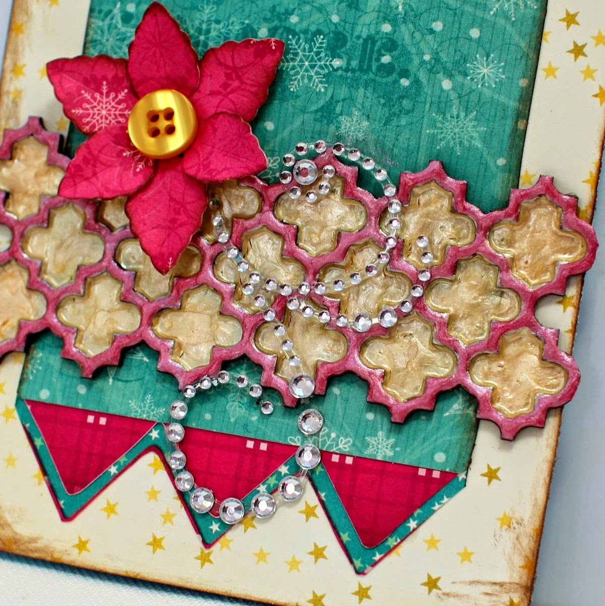Jolly Holiday card by Ilene Tell using Bo Bunny Candy Cane Lane with Pearlescents