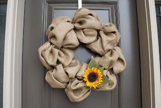 DIY Burlap Wreath On Door Close