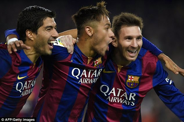 Barcelona's formidable front three of Luis Suarez , Neymar and Lionel Messi