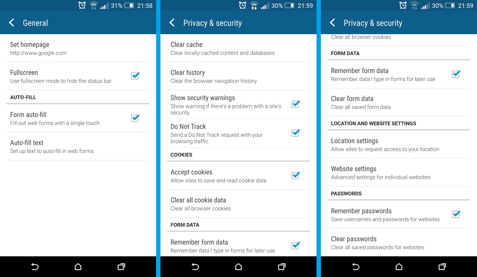 How To Enable And Disable Cookies History, Cookies, Passwords And  More), As Well As Accessibility Options (text