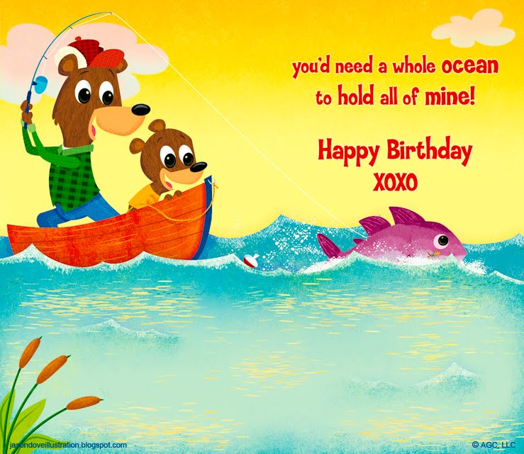 Jason Dove Illustration Fishing With Grandpa Birthday Card