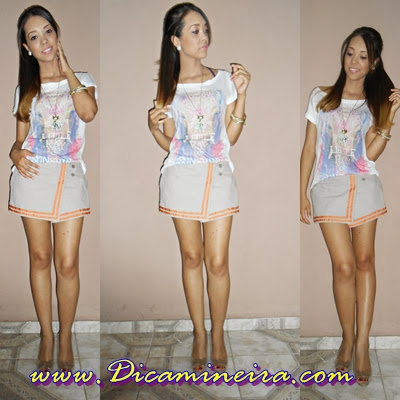 Look de sábado: T-shirt e short saia