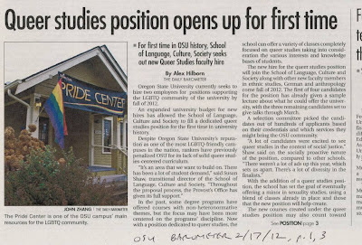 Headline 'Queer studies position opens up for first time. For first time in OSU history, OSU seeks out new Queer Studies faculty' Barometer, Feb. 17, 2012