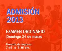 de marzo 2013 sera el examen de admision y publicacion de resultados