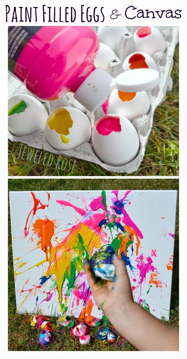 Paint filled eggs on canvas growing a jeweled rose for Cool things to paint