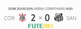 O placar de Corinthians 2x0 Santos pela 27ª rodada do Brasileirão 2015