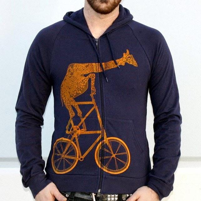 Ma Bicyclette - Buy Handmade - Clothing For Men - Dark Cycle Clothing - Navy Bicycle Hoodie